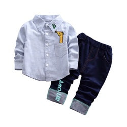 Autumn Baby Boy Gentlemen Long Sleeve Striped Soft Cotton Shirt Tops+Long Pants Trousers Outfit
