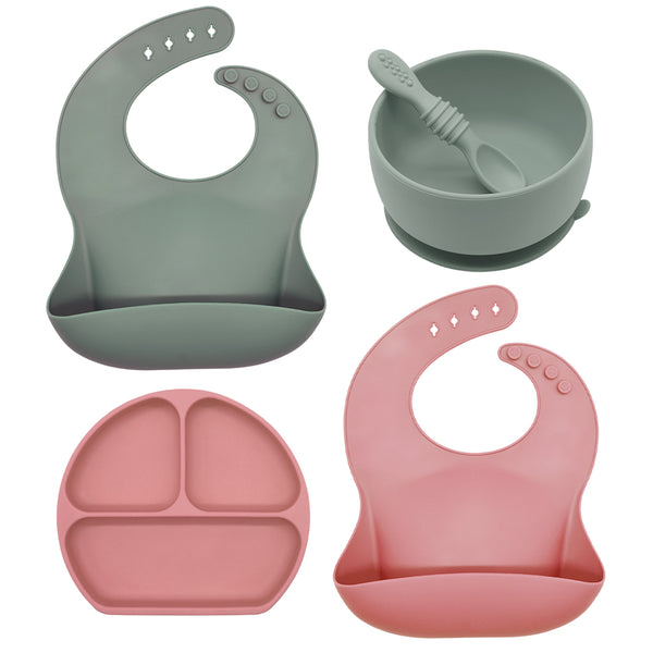 BPA Free Soft Waterproof Silicone Baby Bib with Food Catcher