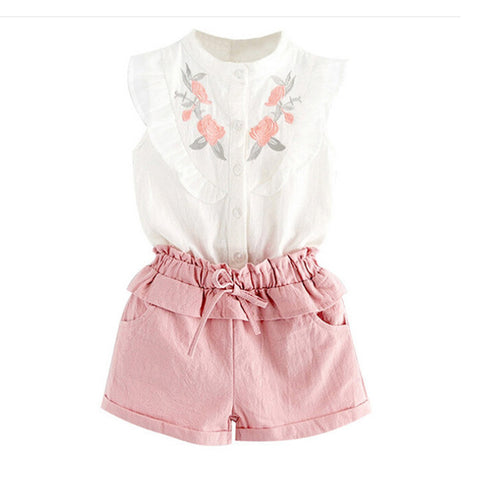 2020 Fashionable design clothes sweet cute newborn  baby lace top shorts