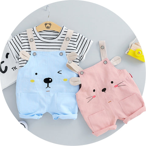 2020 Summer Baby Girls Clothing Sets Infant Clothes Suits Stripe T Shirt Strap Shorts Kids Children Vacation Costume