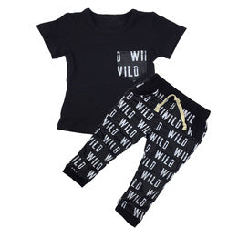 Baby Boy Two-Piece Short Sleeve T-Shirt with Harem Pants