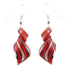 Red, Black and Silver Murano Inspired Glass Twist Earrings