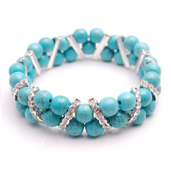 Turquoise Rhinestones and Crystal Stretch Bracelet