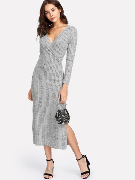 V Neckline Split Side Slub Knit Dress
