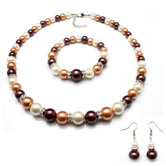 Brown, Cream, and White Glass Pearl Bead Necklace,  Bracelet and Earrings Jewelry Set