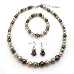 Green, tangerine, maroon Glass Pearl Bead Necklace,  Bracelet and Earrings Jewelry Set