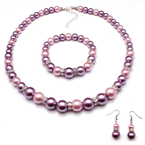 Purple and Mauve Glass Pearl Bead Necklace, Bracelet and Earrings Jewelry Set
