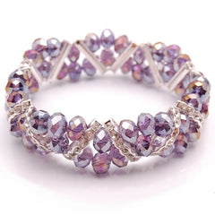 Amethyst Purple Crystal and Rhinestone Stretch Bracelet
