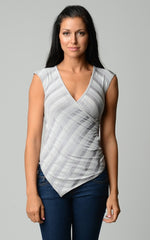Women's Burnout Lurex Stripe Applique Top