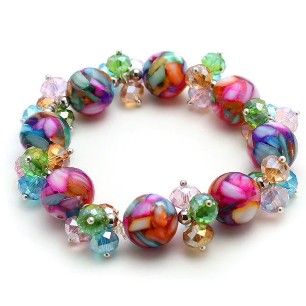 Rainbow Crystal and Mosaic Marble Stretch Bracelet
