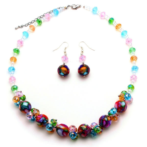 Rainbow Mosaic Marble and Crystal Cluster Necklace and Earrings Jewelry Set