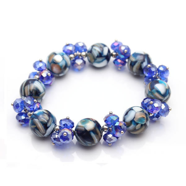 Cobalt Crystal and Mosaic Marble Stretch Bracelet