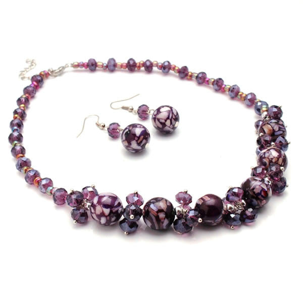 Purple Mosaic Marble and Crystal Cluster Necklace and Earrings Jewelry Set