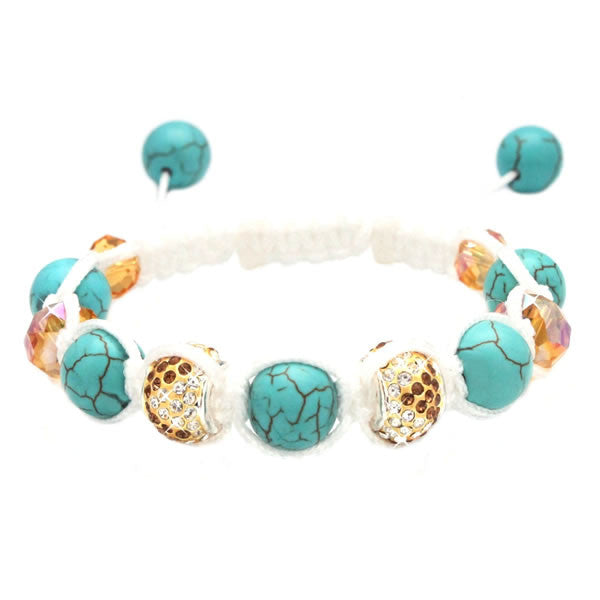 Heavenly White & Turquoise Blue Karma Macrame Bracelet