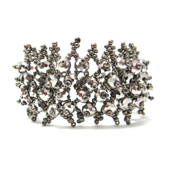 Steel Gray Crystal Weave Toggle Bracelet