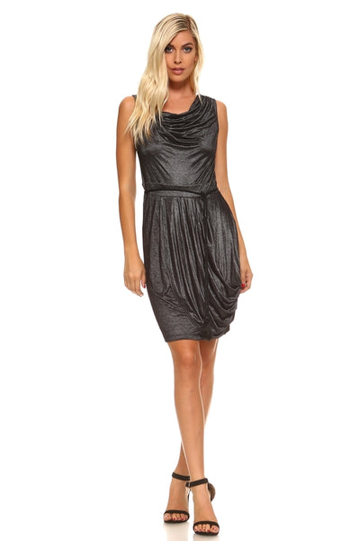 Women's Cowl Neck Dress with Waist Tie
