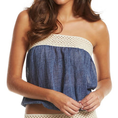 Top Strapless Tube with Crochet Band