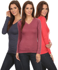 3 Pack Women's Long Sleeve Shirt V-Neck Slim Fit: