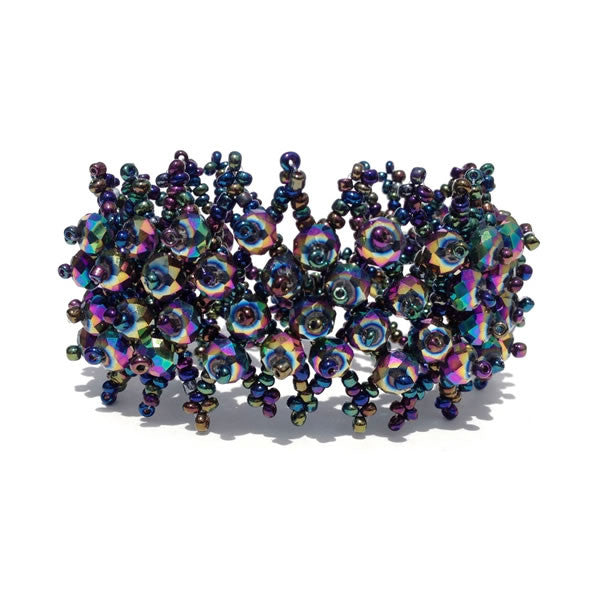 Peacock Blue Crystal Weave Toggle Bracelet