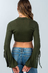 Ladies fashion split sleeve lace up ribbed crop top