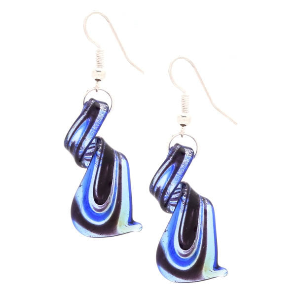 Royal blue / Silvertone Murano Inspired Glass Twist Earrings