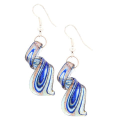 Aqua Blue/ Goldtone Murano Inspired Glass Twist Earrings