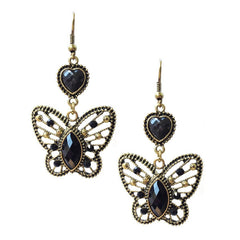 Medium Antiqued finished Black Crystal-accented Butterfly Earrings