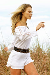 Romper Long Sleeve Off Shoulder Crochet Panel