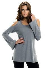 Long Sleeve Cold Shoulder Hoodie Top