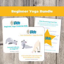 Load image into Gallery viewer, Whether you are a parent practicing yoga with your child, an educator, or a kids yoga teacher, this is a wonderful resource for children to build their own yoga and mindfulness practice. Use these cards as warm-up activities, brain breaks, a transition between activities, or simply as a fun and engaging beginners yoga and mindfulness activities.