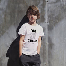 "Load image into Gallery viewer, This tee is for the little yogi warriors in your life. This toddler short sleeve t-shirt features ultra-soft 100% combed and ring-spun cotton, our classic ""OM OM OM CHILD"" front graphic printed with eco-friendly inks, and a relaxed unisex fit for extra comfort."