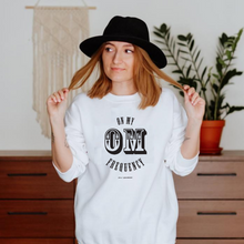 Load image into Gallery viewer, Upgrade to instant good vibes with this On My OM Frequency Sweatshirt. Made from super soft cotton and polyester and featuring a crewneck, rib cuffs and waistband, and a classic fit you know and love to meet all your cozy needs.