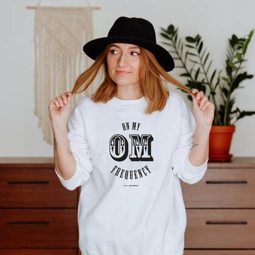 Upgrade to instant good vibes with this On My OM Frequency Sweatshirt. Made from super soft cotton and polyester and featuring a crewneck, rib cuffs and waistband, and a classic fit you know and love to meet all your cozy needs.