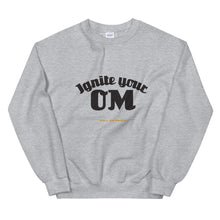 Load image into Gallery viewer, Ignite Your OM Unisex Sweatshirt (Color Heather Sport Grey) - Radiate good energy in our Ignite Your OM Classic Crew Sweatshirt, featuring a rib crewneck, raglan sleeves, and 'Ignite Your OM' front graphic printed with eco-friendly inks. Relaxed, slightly oversized fit. Made with 50% cotton and 50% polyester for ultimate coziness.
