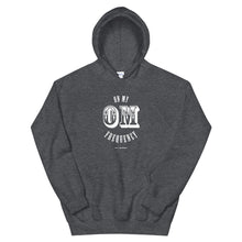 Load image into Gallery viewer,  On My OM Frequency Unisex Hoodie (Color Dark Heather) - High vibes on my OM frequency. This super soft, unisex hoodie features our On My OM Frequency graphic on front, printed with eco-friendly inks, premium stitch details, lined hoodie, a kangaroo pocket and rib cuffs and hem band.Perfect with your favorite sweats or denim.