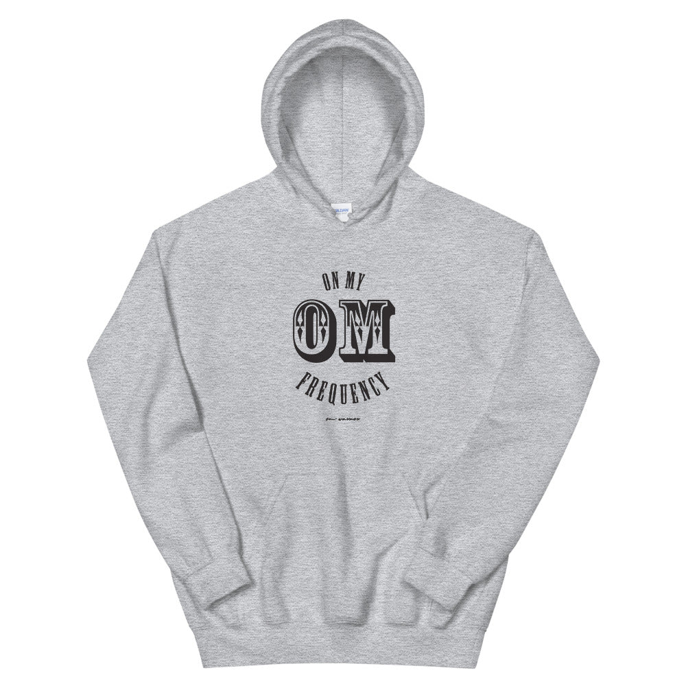 On My OM Frequency Unisex Hoodie (Color Sport Grey) - High vibes on my OM frequency. This super soft, unisex hoodie features our On My OM Frequency graphic on front, printed with eco-friendly inks, premium stitch details, lined hoodie, a kangaroo pocket and rib cuffs and hem band.Perfect with your favorite sweats or denim.