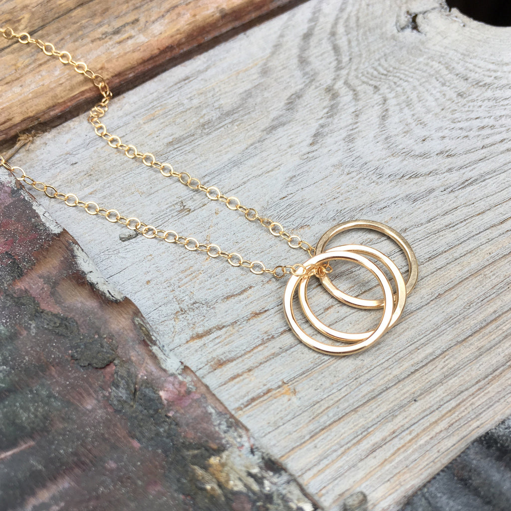 Tiny Trio Necklace ~ Circles ~ Goldfilled