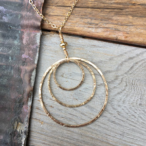 Triple Circle Necklace ~ Goldfilled