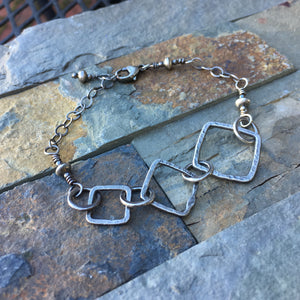 Square Trio Bracelet ~ Oxidized