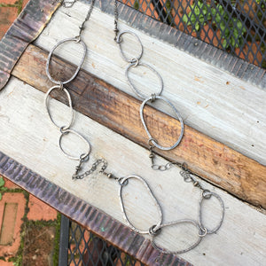 Long Riverstone Necklace ~ Oxidized