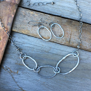 Riverstone Trio Necklace ~ Oxidized