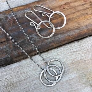 Tiny Trio Necklace ~ Oxidized