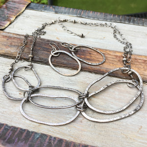 Riverstone Double Layer Necklace ~ Oxidized