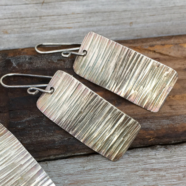 Tree Bark Earrings ~ Oxidized