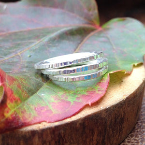 Tree Bark Stack Rings ~ Shiny