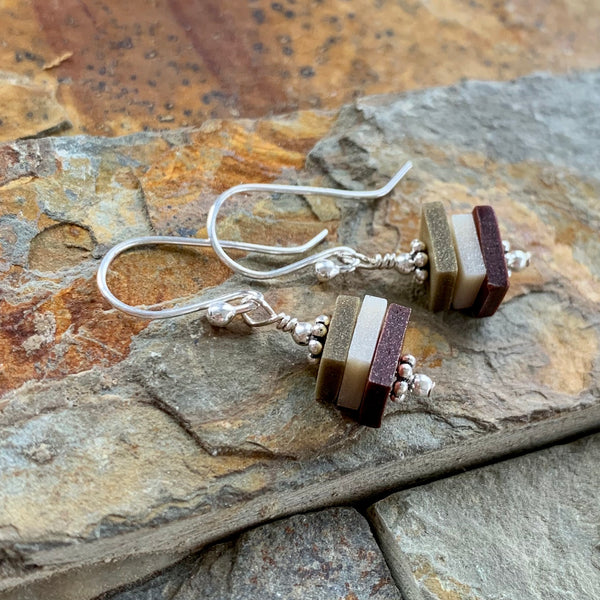 Earthy Stacks Earrings ~ Dangly Colorway B