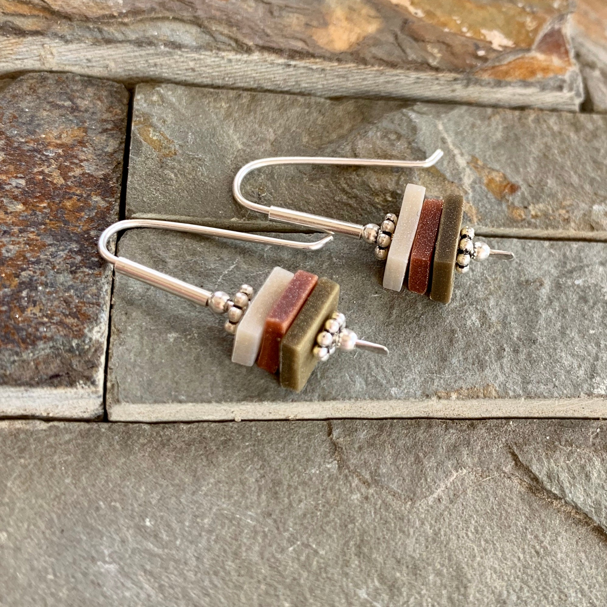 Earthy Stacks Earrings ~ Colorway D