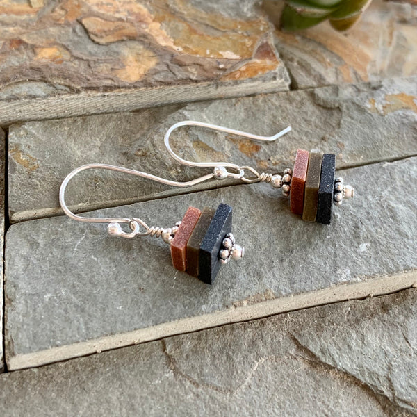Earthy Stacks Earrings ~ Dangly Colorway A