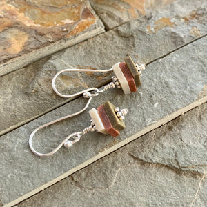 Earthy Stacks Earrings ~ Dangly Colorway D