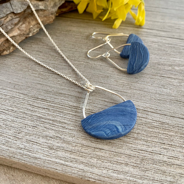 Basket Earrings ~ Faded Denim